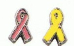 Ribbons Pink & Yellow - Enamel Charms